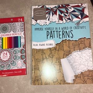 Adult Coloring Book Patterns & 24 Colored Pencils